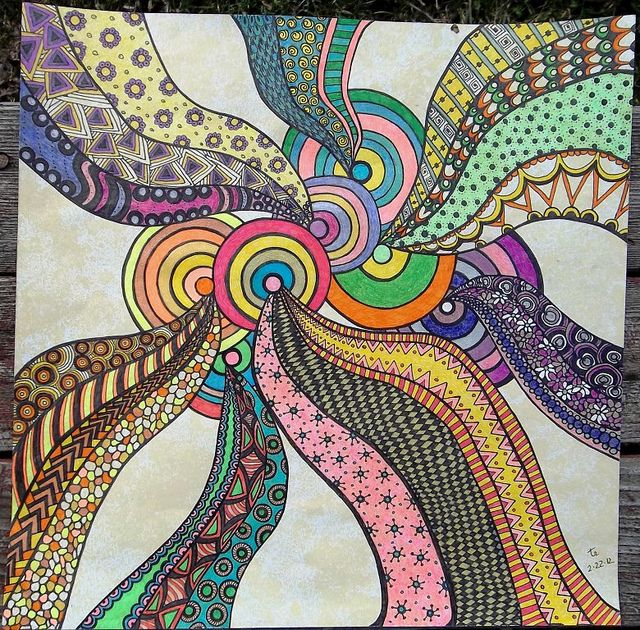Zentangle #08 2-22-12 by terry_lynn_12 on Flickr. So precise, and great color work!