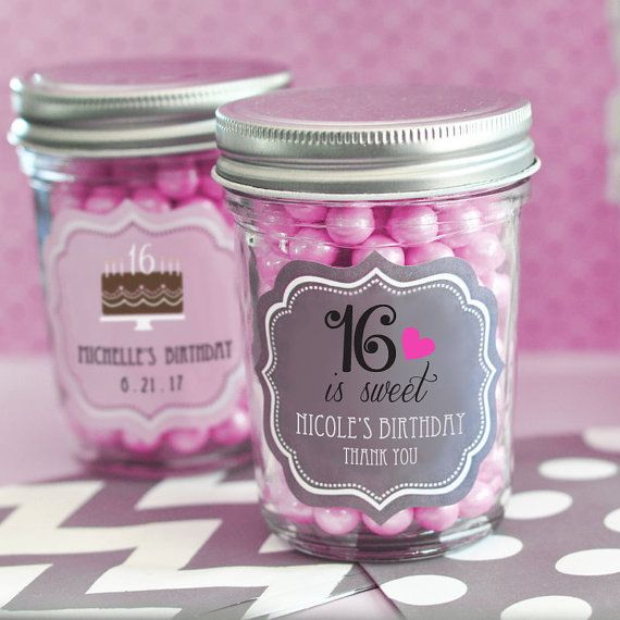 Sweet 16 Party Favors-Personalized Mini Mason by SweetPartyGoodies