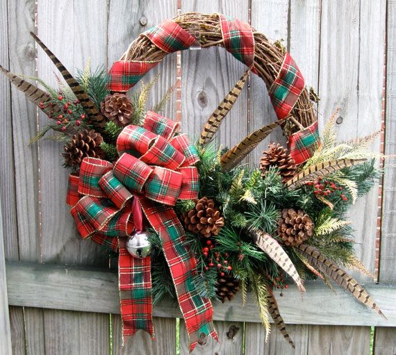 Scottish Highlands Tartan Christmas Wreath, Winter, Pheasant feather, Scotland, Country, Rustic, Cabin, Woodland on Etsy, $129.99