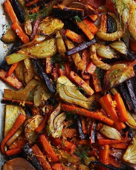 Nigella Lawson's carrots and fennel with harissa: eat as a side dish, or add a fried egg to turn it into supper in its own right.