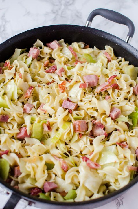 Fried Cabbage, Ham & Noodles (Haluski)