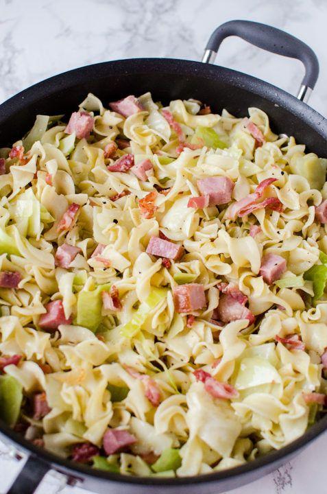 Fried Cabbage, Ham & Noodles (Haluski)