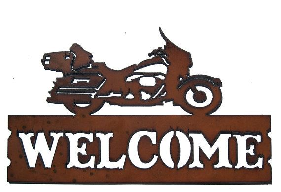 Rustic Recycled Metal Harley Motorcycle Welcome by TheRusticBarnAZ, $20.00