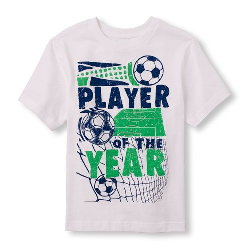 s Boys Short Sleeve 'Player Of The Year' Soccer Graphic Tee - White T-Shirt - The Children's Place