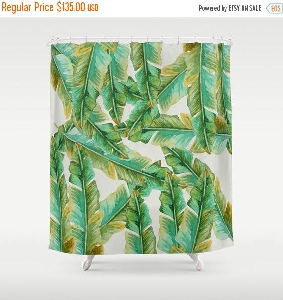 ON SALE 10% OFF Tropical shower curtain, banana leaf shower curtain, rustic shower curtain, bathroom decor, bathroom shower curtains, fabric by Famenxt on Etsy https://www.etsy.com/in-en/listing/462865346/on-sale-10-off-tropical-shower-curtain