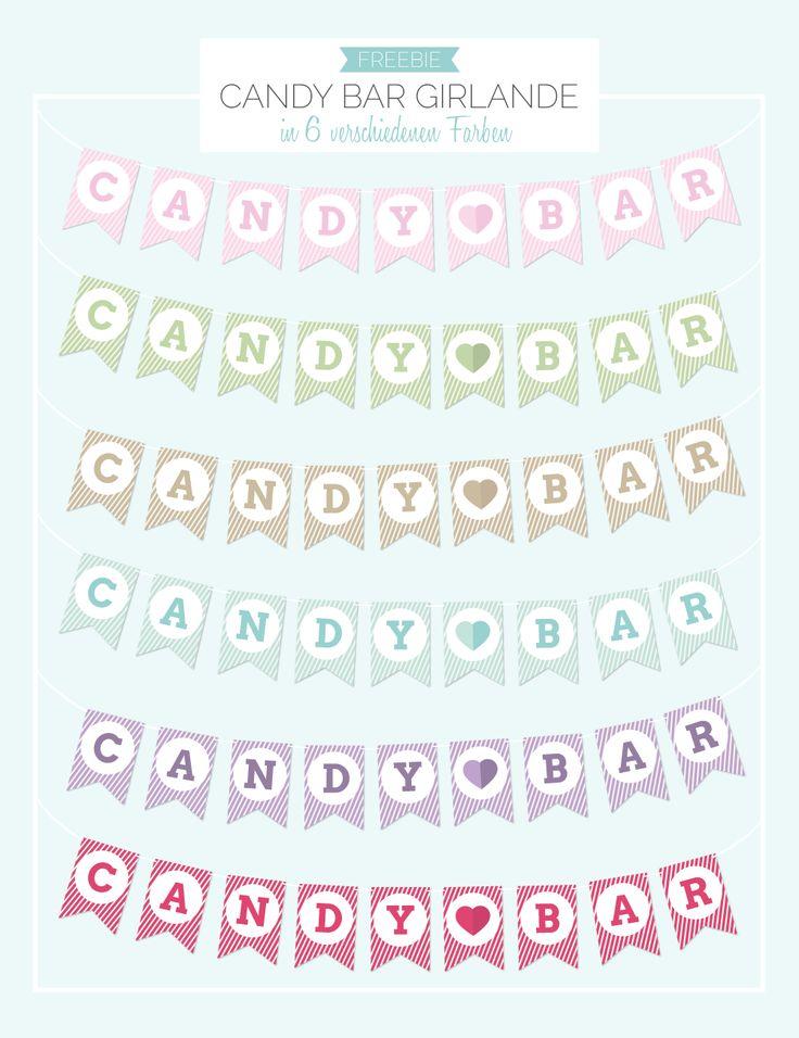 Vorlage Candy Bar Girlande in rosa, hellgrün, beige, blau, lila, pink - Freebie - kostenlos ausdrucken