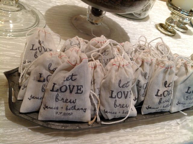 What a great idea for wedding favors for your guests. 'Let Love Brew' personalized tea bags to take home. #wedding #favors #bride #groom #reception #diy