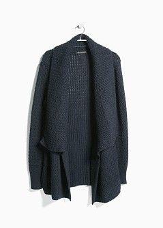 Lapel wool-blend cardigan