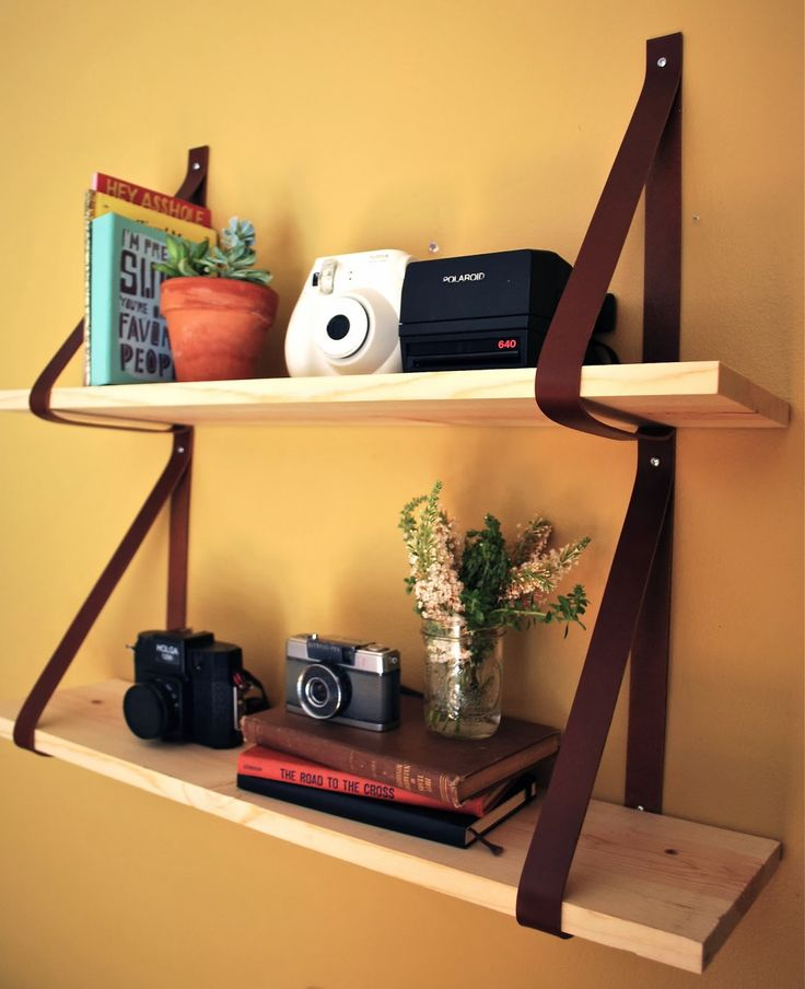 """DIY """"leather strap shelf"""" is easy to make and looks pretty cool."""