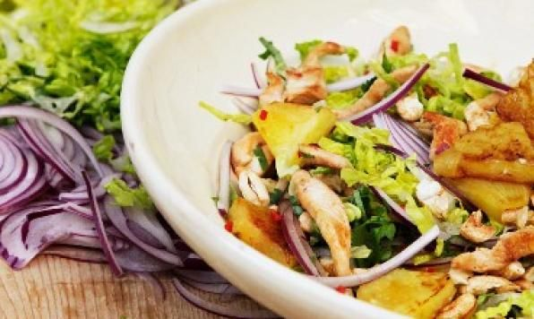 Bring a litle spice to your Valentine's Day Dinner with Chili Chicken and Pineapple Salad with Spiced Walnuts