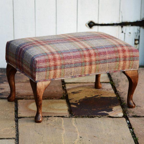 Large Footstool - Tartan Abraham Moon Threshfield Rhodolite Fabric by FlossysFootstools on Etsy