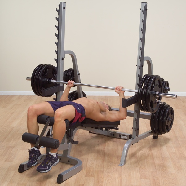 The Bench/Rack combination (SDIB370) gives users the ability to utilize squats, bench presses, incline and shoulder presses in a small space efficient footprint.