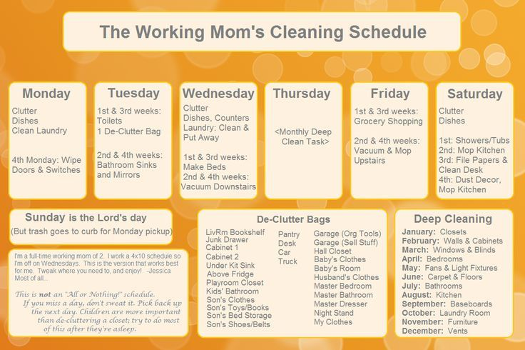 house cleaning schedule for working moms - Google Search