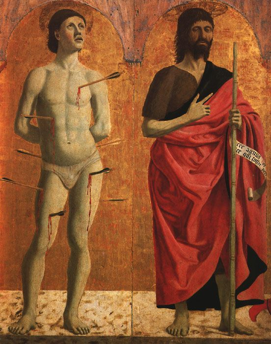 Piero della Francesca, St. Sebastian and John the Baptist, c. mid-15th century