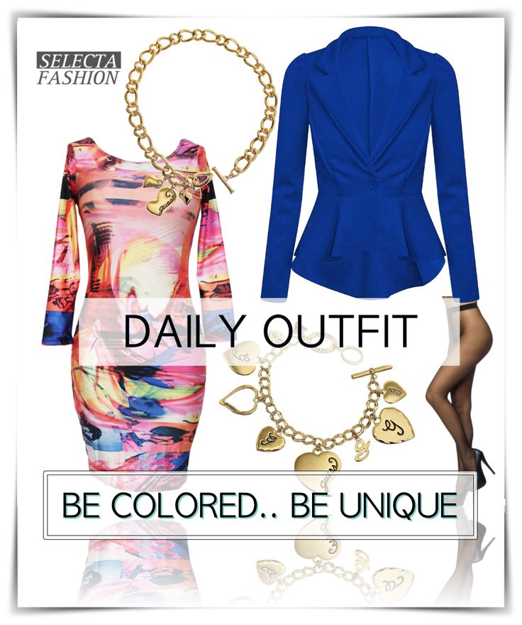Outfity na bežný deň - Casual outfits - SELECTA FASHION color dress peplum jacket coat guess chain guess accesories selectafashion pantyhose