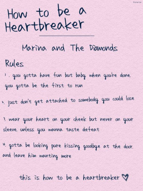 Marina And The Diamonds How To Be A Heartbreaker Rules ...