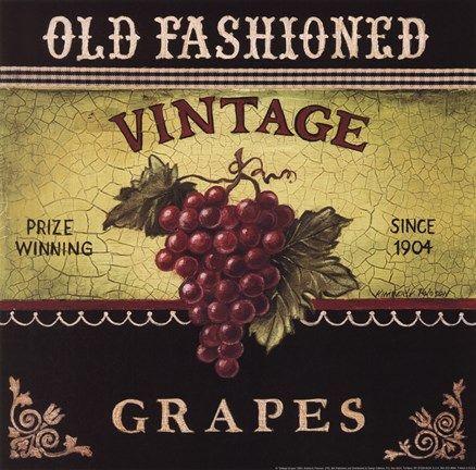 Framed Vintage Grapes Print