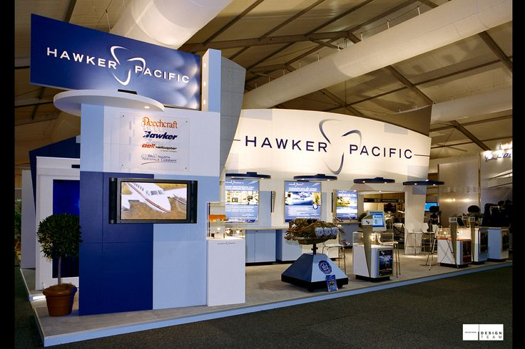 HAWKER PACIFIC @ AIRSHOW  Hawker Pacific has a strong reputation as an aircraft manufacturer and reseller. Their presentations are supported by large stands and chalets at these various airshows in the Pacific Rim region. These presentations offer a typical congenial atmosphere, creating good sales environments.