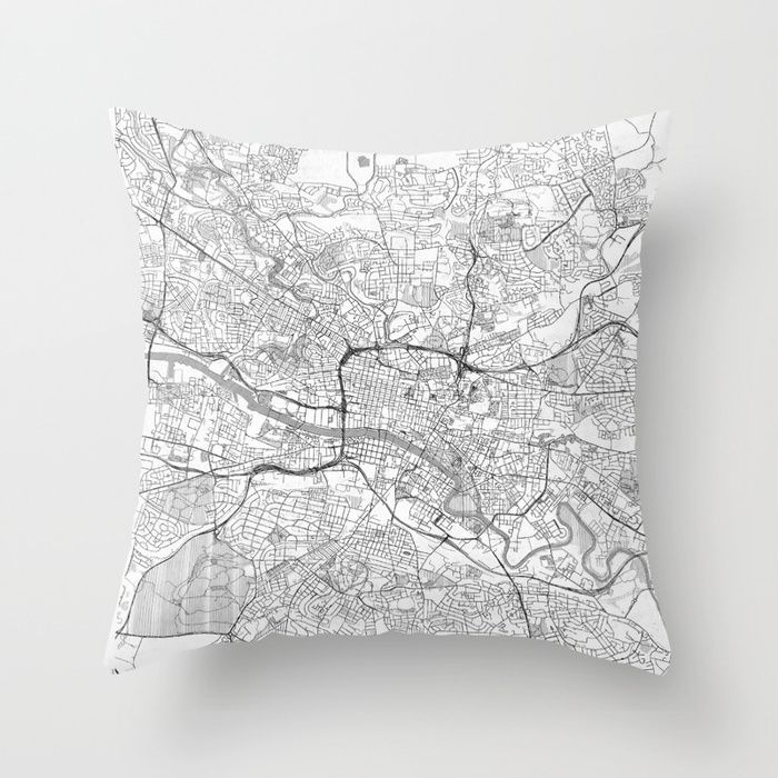 Glasgow Map Line Throw Pillow