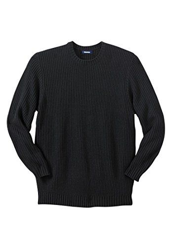 "Kingsize Men's Big & Tall Shaker Knit Crewneck Sweater  Roomy sweater gives a classic big and tall fit  32"" length in Big and 34"" in Tall for great coverage  Crew neckline for classic looks and comfort  Long-sleeve for warmth  Ribbed at crewneck, cuffs and bottom to keep sweater in place"