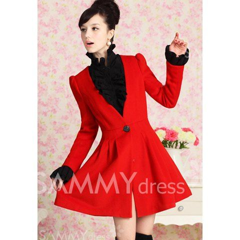$23.90 Puff Sleeves V-Neck Skinny Stunning Style Woolen Solid Color Coat For Women