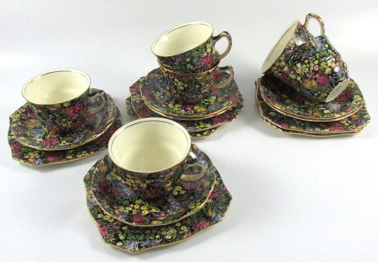 """""""Black Crocus"""" Tea Cups, Saucers & Plates"""