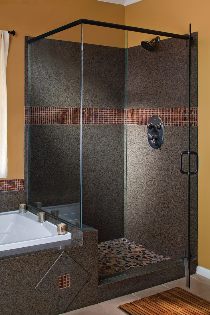 A shower remodeled just for you by Granite Transformations. Their  installation takes days, not