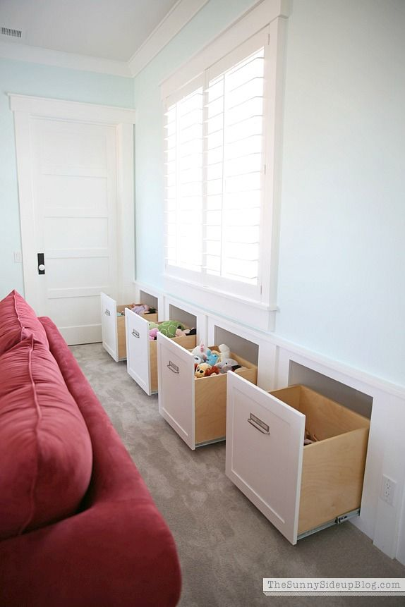Built-in drawers for playroom toys - Sunny Side Up Blog