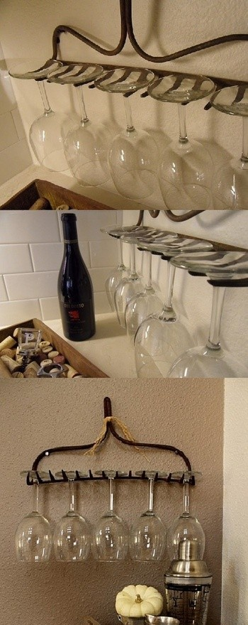 From old rake to wine glass holder = awesome! Especially for those of us w/small spaces! LOVE.