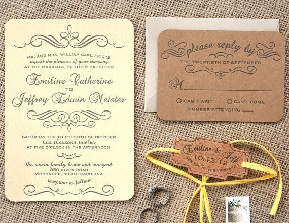 Vintage Calligraphy Letterpress Wedding by sofiainvitations, $6.00