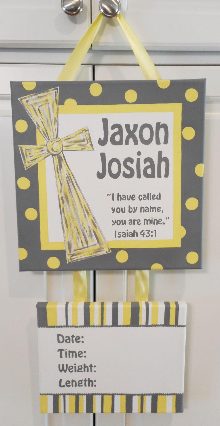Cross Scripture Baby Birth Announcement, Hospital Door Sign, Baby Door Hanger, Baby Room Sign, Personalized Baby Room Sign, Child Room Sign by HairbowsnHandprints on Etsy https://www.etsy.com/listing/242755427/cross-scripture-baby-birth-announcement