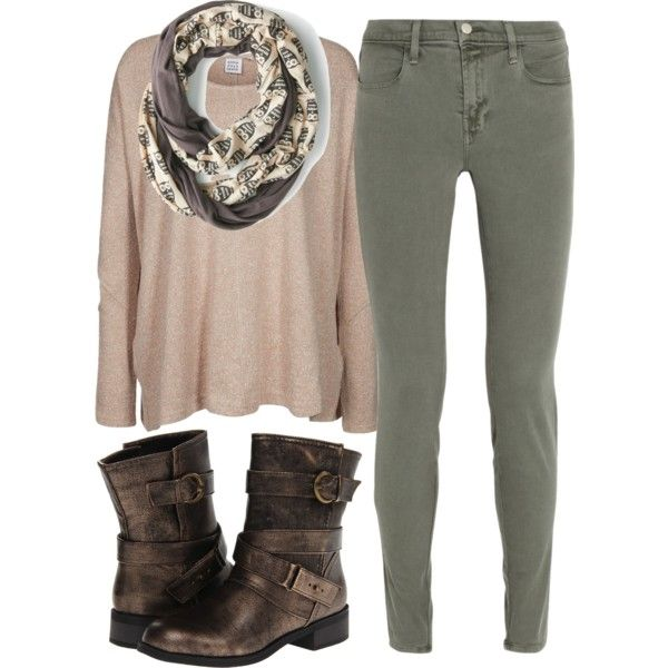 Outfit # - White Tank Top - Beige Sweater - Army Green Floral Printed Scarf - Army Green Jeans - Gray Ankle Boots