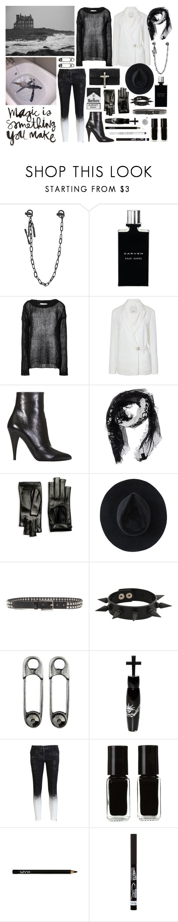 """""""pain in your eyes: you are my ocean"""" by nothingisnormal ❤ liked on Polyvore featuring Dsquared2, Carven, Faith Connexion, TIBI, Yves Saint Laurent, Gucci, Ryan Roche, rag & bone, Forever 21 and Manic Panic NYC"""