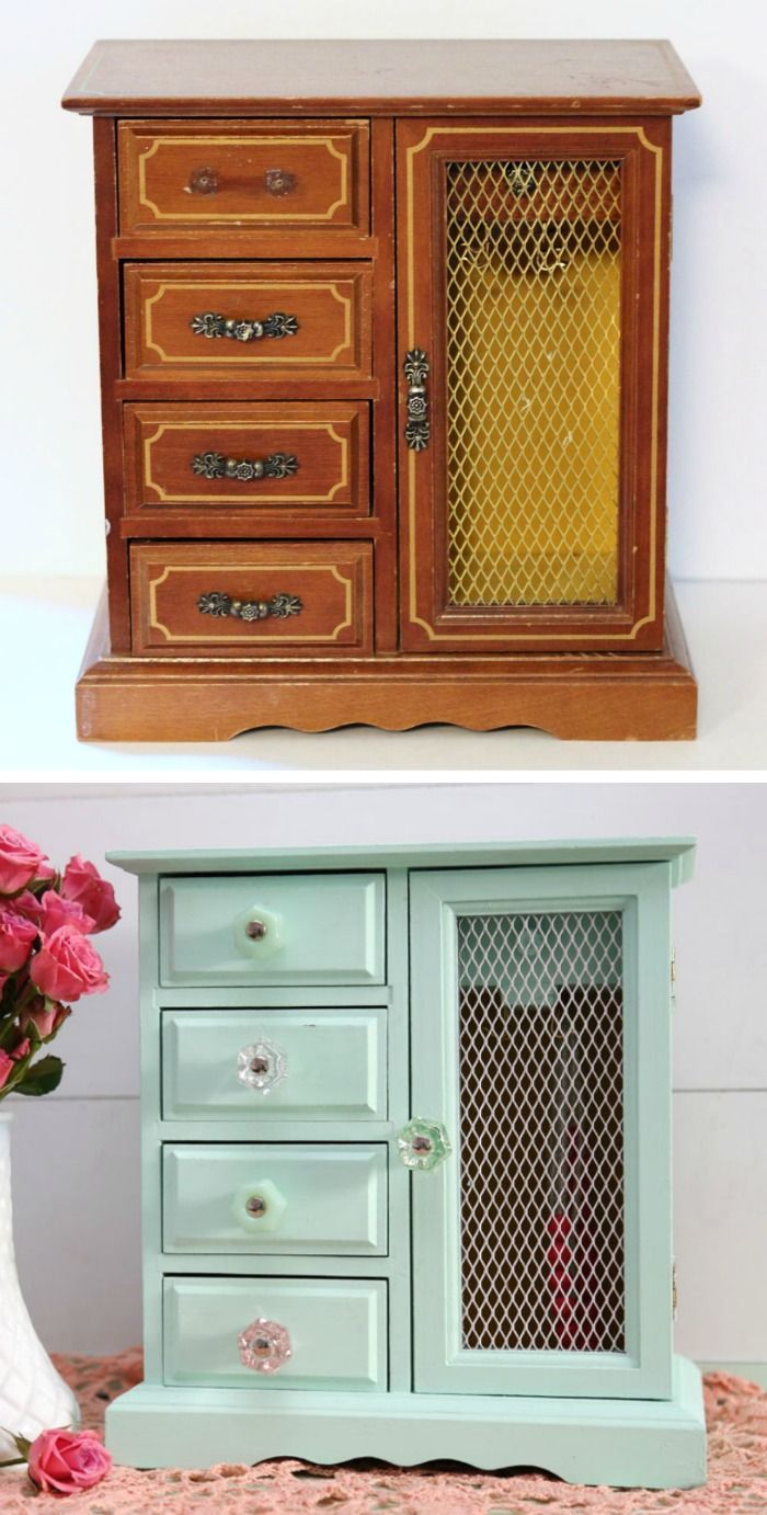 1059 best upcycling old jewelry boxes images on pinterest for Old jewelry box makeover