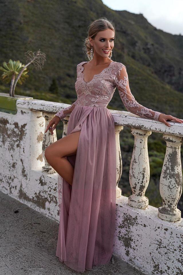Dluga Elegancka Suknia Dekolt Sukienki W Litere V Zakryty Tyl Wraz Z Suwakiem G Prom Dresses Long With Sleeves Prom Dresses Long Split Prom Dresses