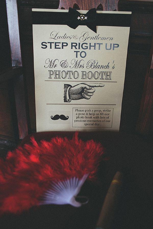 An Antique Hollywood Glamour Wedding photobooth signage via whimsical wonderland weddings