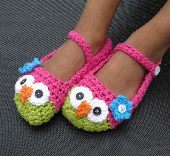 Owl slippers crochet