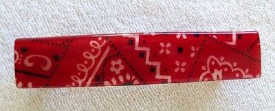 Oyonnax France Rectangle Barrette French Hair Clip Red
