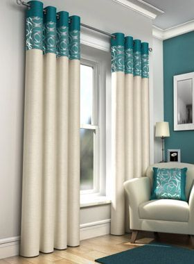 Skye Faux Silk Teal Eyelet Curtains Linen4less Co