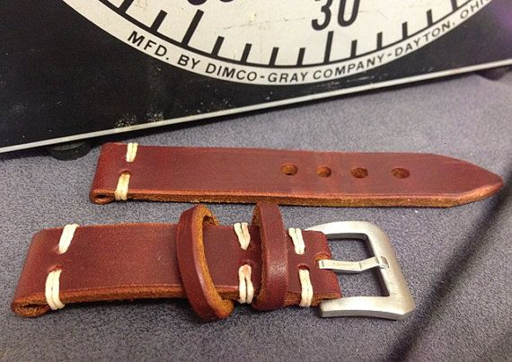 Handmade 20 mm thick burgundy leather watch strap by VieuxHalloo, $45.00