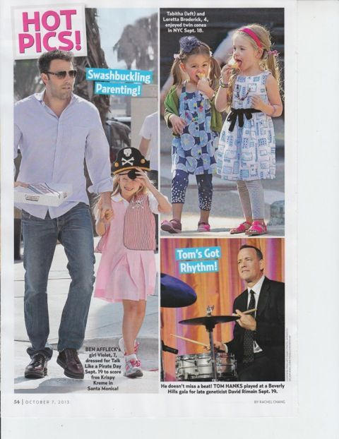 SJP twins wearing Manuela de Juan hot pink sandals in US Weekly!