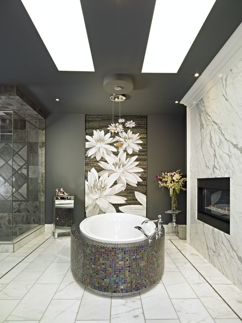 This Is My Dream Bathroom! Gorgeous Asian Inspired Bathroom With A Giant  Tile Mosaic Lily Mural. Carpet Colour Centre   Carpet Oneu0027s Design,  Pictures, ...