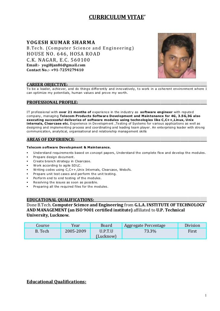 Resume Format For 6 Months Experienced Software Engineer Resume Templates Resume Format Resume Examples Resume