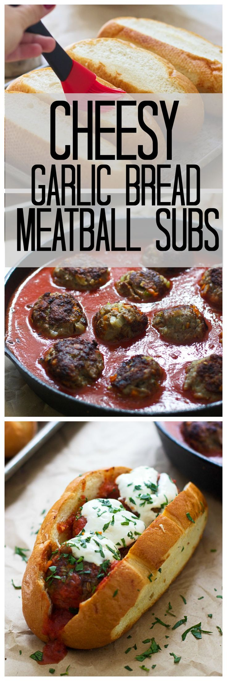 Garlic Bread Bolognese Meatball Subs