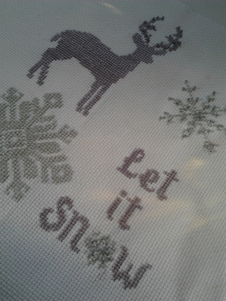 ♥ Korsstygns-Arkivet ♥: LET IT SNOW-KORSSTYGNSBRODERI AV MIN DOTTER MARIA