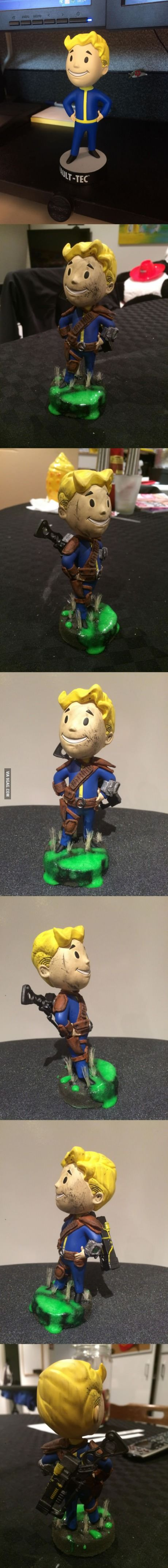 This guy upgraded his Fallout Bobble-Head with some extras to make him look more...'travelled'.