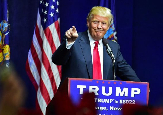 April 8 2016 - Donald Trump came home to his New York roots, telling a raucous Bethpage crowd he loved them and recalling his days playing golf on the Bethpage Golf Course.