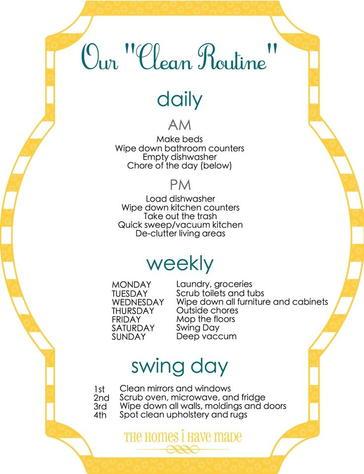 I love the idea of a weekly cleaning routine.  Makes it easier to stay on top of things.
