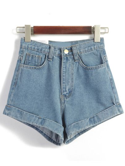 Shorts en Denim décontracté taille haute -bleu  Only US$19.00
