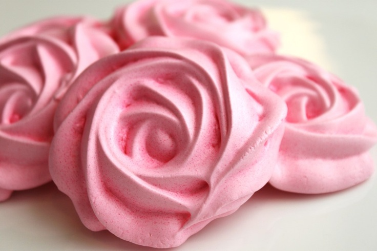 Rose Meringues...these would be perfect for a tea party.